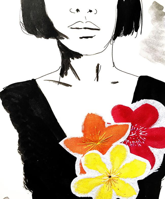 dessin a l encre et fleurs peintes appliquees