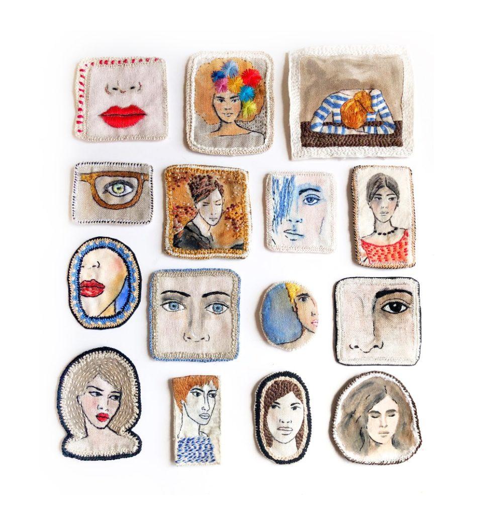 portraits brodés de femmes