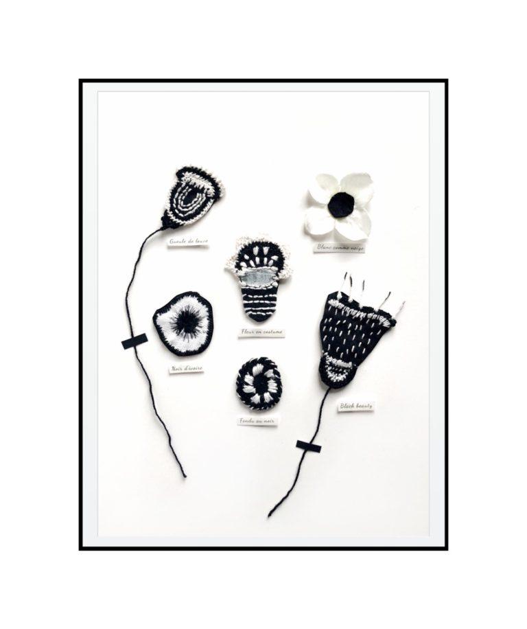 herbier textile noir et blanc