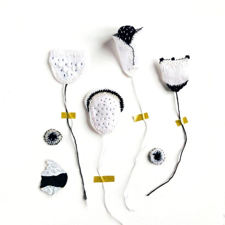 herbier textile blanc et noir