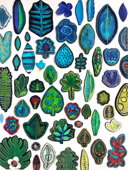 herbier de feuilles textiles
