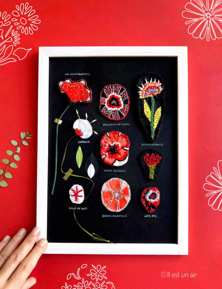 herbier textile rouge et noir